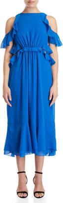 Gaudi' Gaudi Ruffled Cold Shoulder Cutout Midi Dress