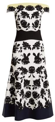 Alexander McQueen Off The Shoulder Rose Intarsia Dress - Womens - Ivory Multi