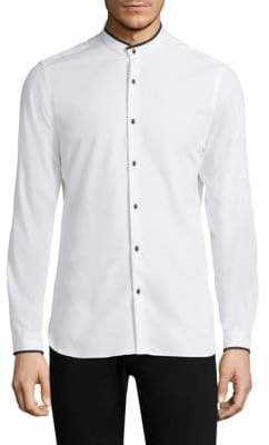The Kooples Contrast Tip Skull Button-Down