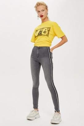 Topshop Womens Grey Side Striped Joni Jeans