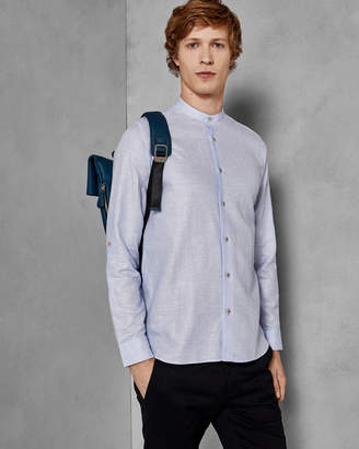 Ted Baker FELDAY Cotton-linen grandad collar shirt