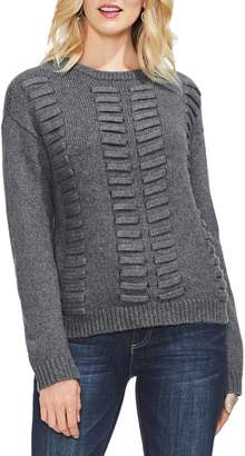 Vince Camuto Vince Camtuo Lace Through Detail Cotton Blend Sweater