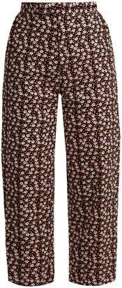 Eckhaus Latta Floral-print wool-blend corduroy trousers