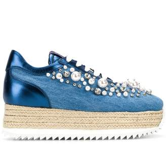 Le Silla embellished denim platform sneakers