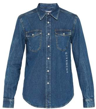 Givenchy Logo Embroidered Denim Shirt - Mens - Blue