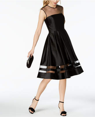 Betsy & Adam Satin Illusion Fit & Flare Dress