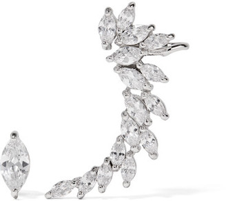 Kenneth Jay Lane - Rhodium-plated Cubic Zirconia Earrings - Silver $125 thestylecure.com
