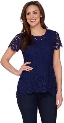 bab790ea24 Floral Lace Short Sleeve Peplum Top