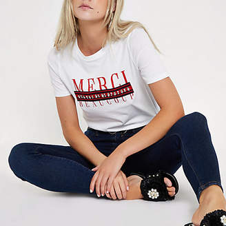 River Island Petite white 'merci' tape embellished T-shirt