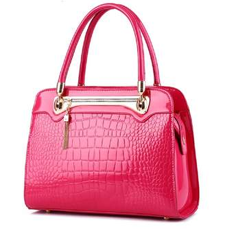 Merrysale Women Patent PU Leather With Crocodile Pattern Handbag Single Shoulder Bag Tote Purse