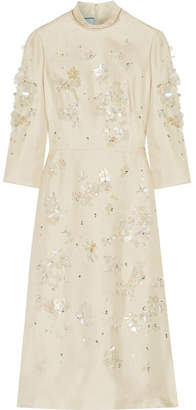 Embellished Silk-gazar Midi Dress - Ecru