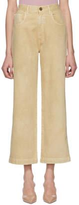 Nanushka Beige Marfa High-Rise Wide-Leg Jeans