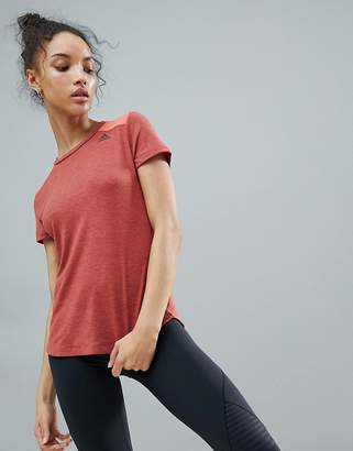 adidas Mesh Back Prime Tee In Coral