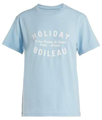 Holiday Boileau - Logo Print Cotton T Shirt - Womens - Light Blue