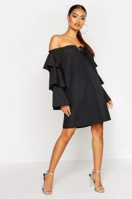 boohoo Flare Sleeve Off The Shoulder Smock Dress