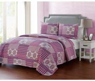 Vcny Home VCNY Home Nadia 3-Piece Pinsonic Reversible Quilt Set, Purple, Multiple Sizes Available
