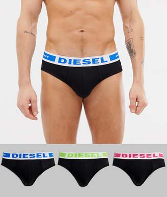 Diesel logo 3 pack briefs in black