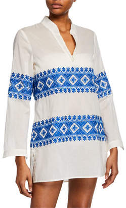 Tory Burch Stephanie Embroidered Coverup Tunic