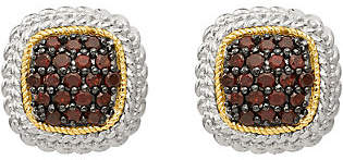 QVC Sterling & 14K Garnet Button Post Earrings