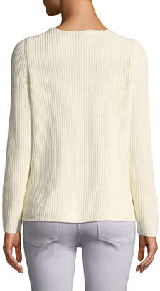 Neiman Marcus Velvet Lace-Up Ribbed-Knit Sweater