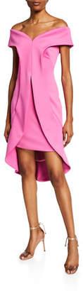 Black Halo Anderson Off-the-Shoulder Short-Sleeve Sheath Dress