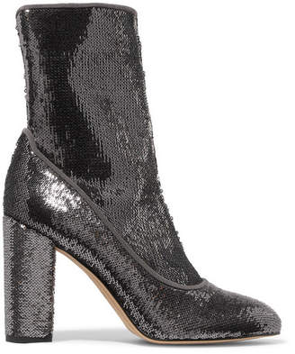 Sam Edelman - Calexa Sequined Stretch-twill Sock Boots - Silver
