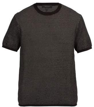 Rag & Bone Finn Jacquard Knit Cotton Blend T Shirt - Mens - Black