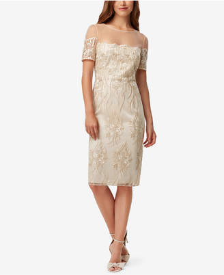 Tahari ASL Embroidered Illusion-Neckline Sheath Dress