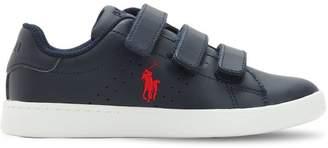 Ralph Lauren Childrenswear Logo Detail Leather Straps Sneakers