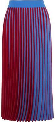 Derek Lam Two-Tone Pleated Stretch-Knit Midi Skirt