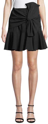 cinq a sept Mara Crepe Flounce Mini Skirt w/ Bow Detail