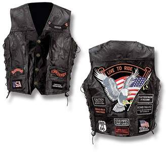 Buffalo David Bitton Bnf Diamond Plate Rock Design Genuine Leather Biker Vest