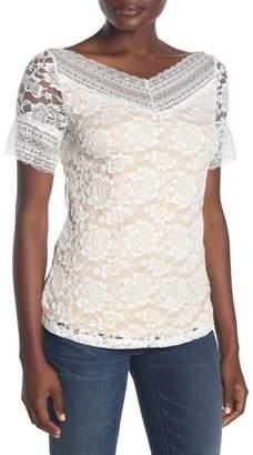 Forgotten Grace Stretch Lace Short Sleeve Knit Blouse