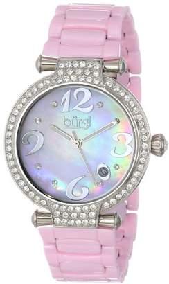 Burgi Women's BUR071PK Quartz Date Ceramic Bracelet Watch