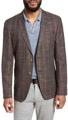 Sand Trim Fit Stretch Windowpane Sport Coat