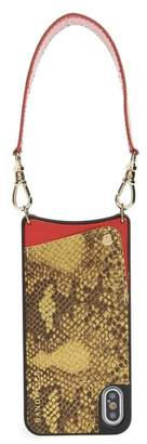 BANDOLIER Angie Snake Print Faux Leather iPhone X Wristlet Case