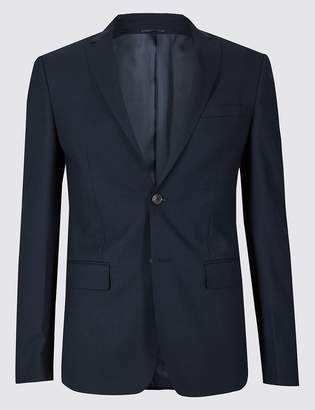 Marks and Spencer Big & Tall Navy Skinny Fit Wool Jacket
