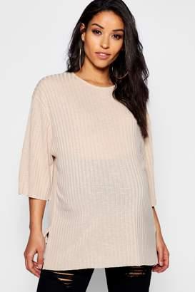 boohoo Maternity Oversized Rib T Shirt