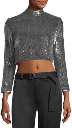 A.L.C. Keegan Mock-Neck Long-Sleeve Sequined Crop Top