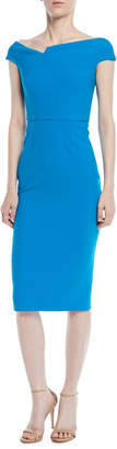 Roland Mouret Off-the-Shoulder Cap-Sleeve Crepe Sheath Dress