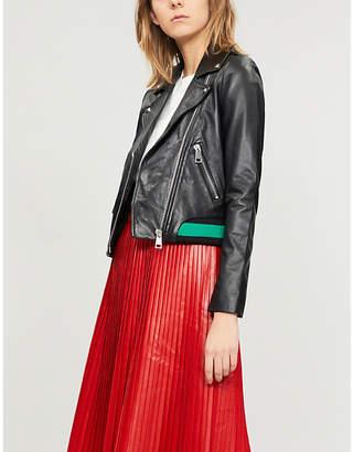Maje Contrast-trim leather biker jacket