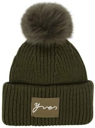 Yves Salomon Fur Pompom Wool-blend Beanie