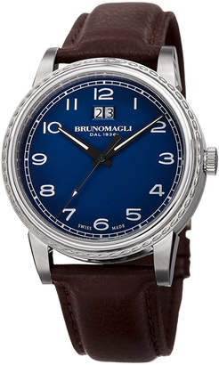 Bruno Magli Men's 43mm Leather Watch w/ Blue Dial