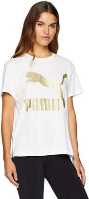 Puma Women's Classics Logo Tee Shirt, White/Gold, S