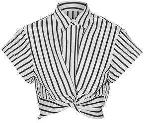 Alexander Wang Cropped Twist-Front Striped Cotton-Blend Poplin Shirt