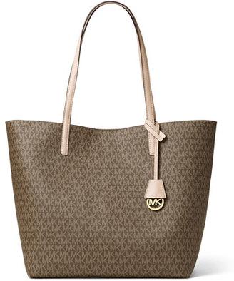 MICHAEL Michael Kors Hayley Large East-West Logo-Print Tote Bag, Mocha/Bisque $248 thestylecure.com