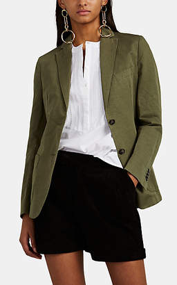 Officine Generale Women's Vanessa Cotton-Linen Slub-Twill Jacket - Olive
