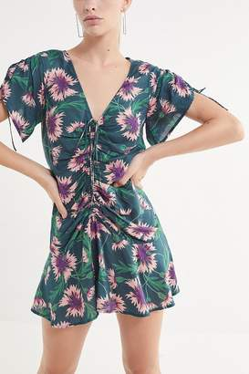 Urban Outfitters Julia Cinched V-Neck Mini Dress