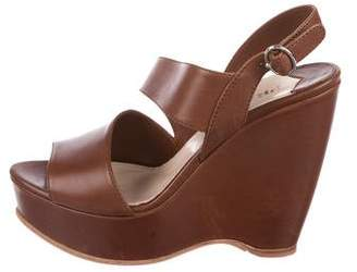 Prada Leather Platform Wedges