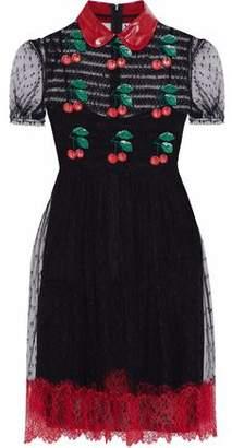 RED Valentino Appliquéd Embroidered Point D'esprit Mini Dress